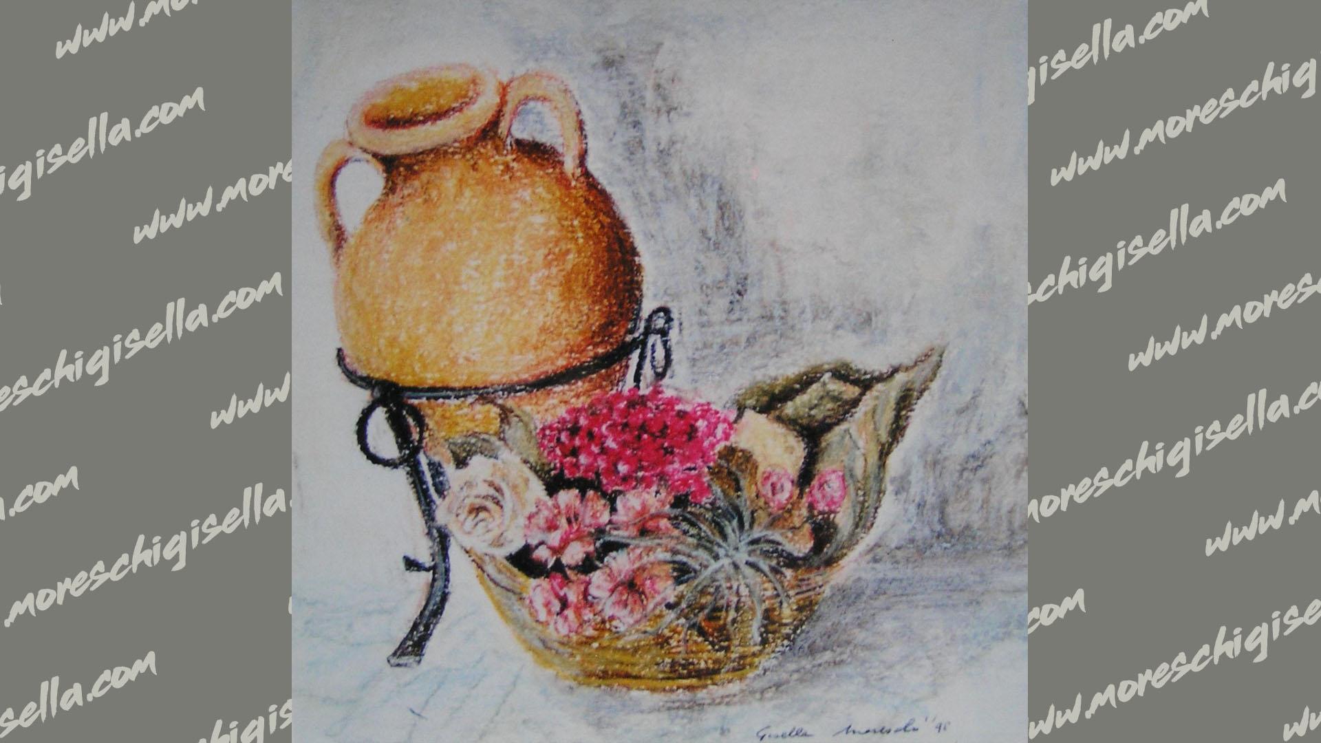 anfora con cestino di fiori secchi
