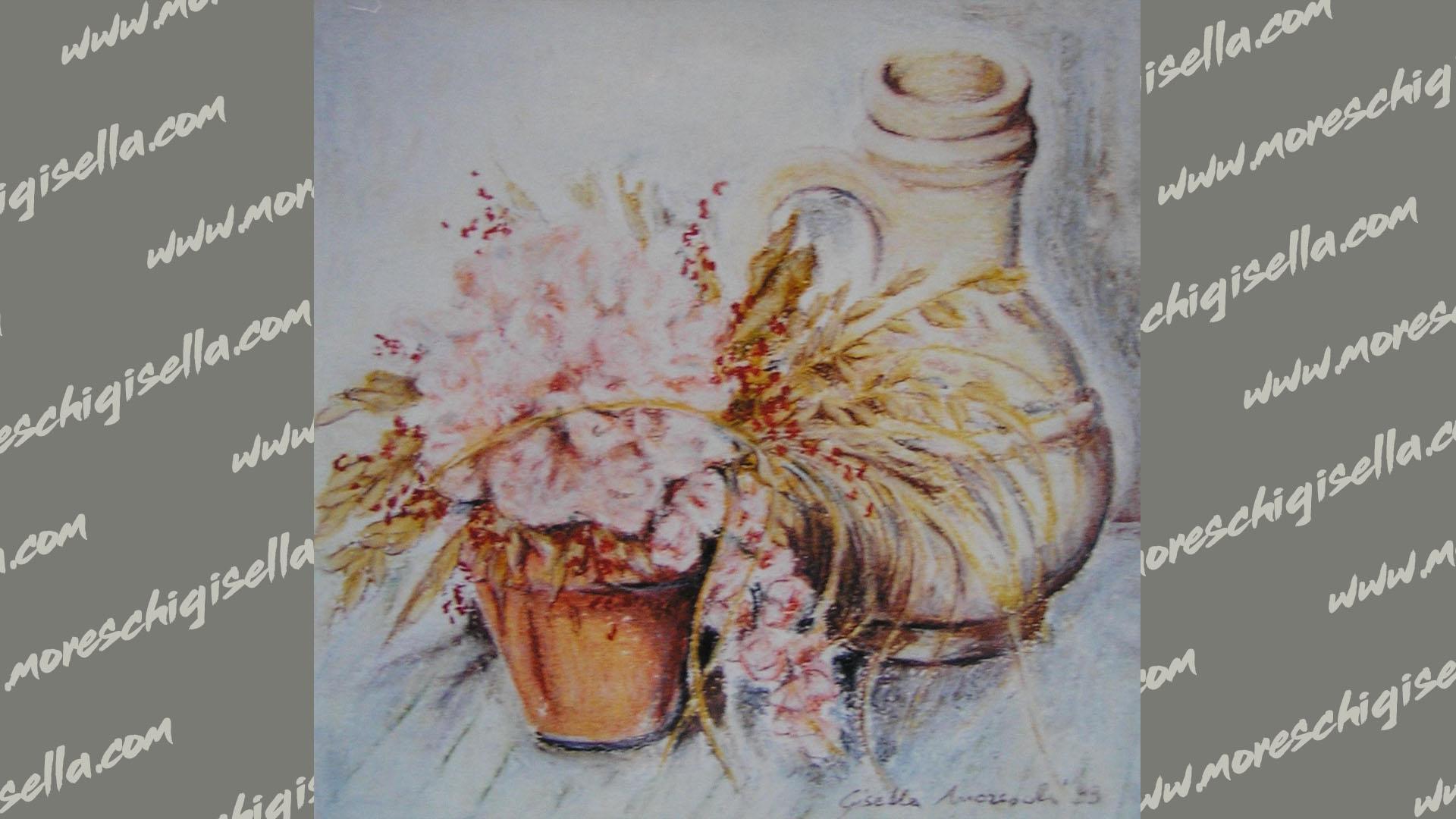 anfora con vasetto di fiori secchi