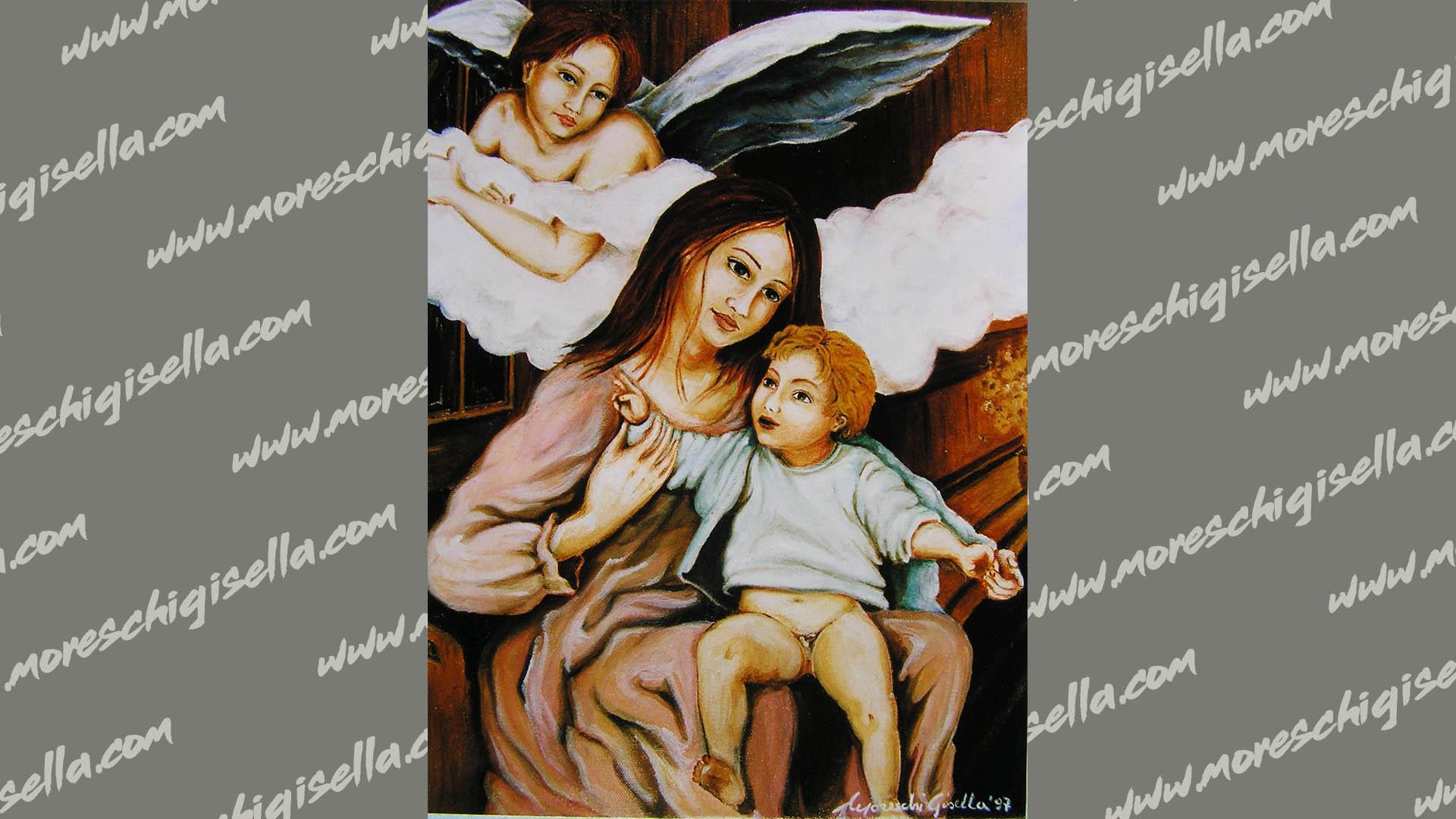 madonna con bambino e l' angelo