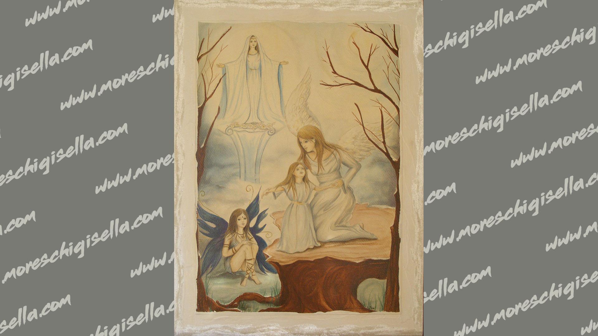visione celeste- maria con l' angelo e la fata